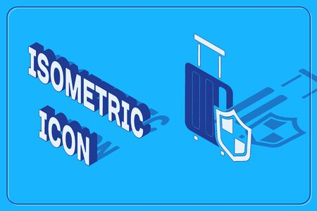 Isometric Travel suitcase with shield icon isolated on blue background. Traveling baggage insurance. Security, safety, protection, protect concept. Vector.