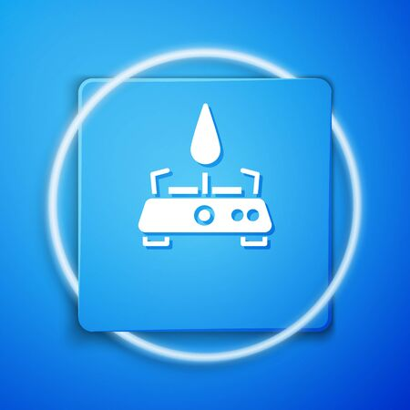 White Camping gas stove icon isolated on blue background. Portable gas burner. Hiking, camping equipment. Blue square button. Vector