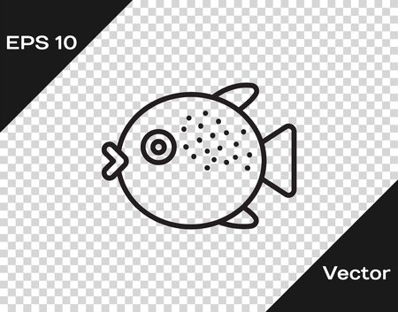 Black line Puffer fish icon isolated on transparent background. Fugu fish japanese puffer fish. Vector.