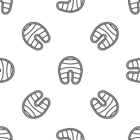 Grey line Fish steak icon isolated seamless pattern on white background. Vector.