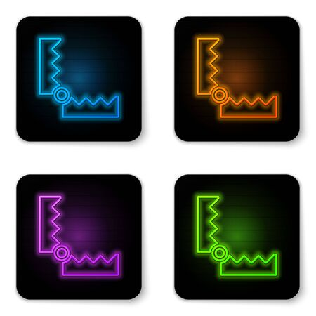 Glowing neon Trap hunting icon isolated on white background. Black square button. Vector.