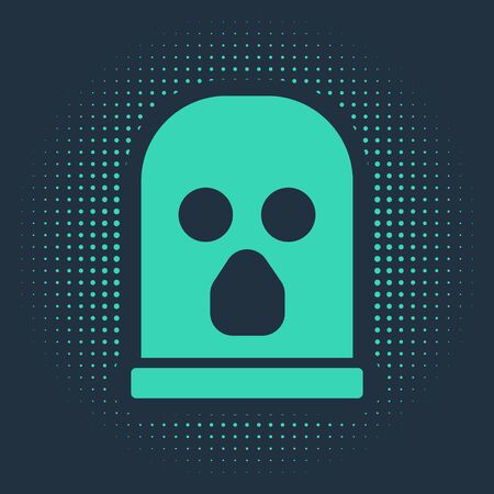 Green Balaclava icon isolated on blue background. A piece of clothing for winter sports or a mask for a criminal or a thief. Abstract circle random dots. Vector.