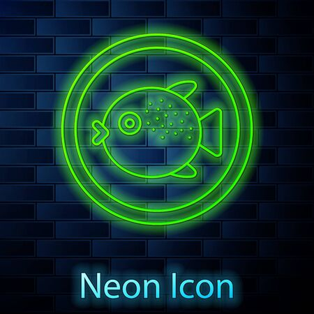 Glowing neon line Puffer fish on a plate icon isolated on brick wall background. Fugu fish japanese puffer fish. Vector.