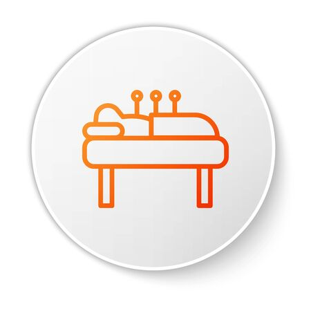 Orange line Acupuncture therapy icon isolated on white background. Chinese medicine. Holistic pain management treatments. White circle button. Vector
