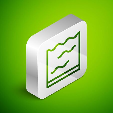Isometric line Aquarium icon isolated on green background. Aquarium for home and pets. Silver square button. Vector