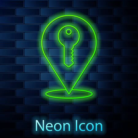 Glowing neon line Location key icon isolated on brick wall background. The concept of the house turnkey. Vector