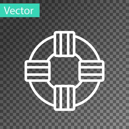 White line Lifebuoy icon isolated on transparent background. Lifebelt symbol. Vector.