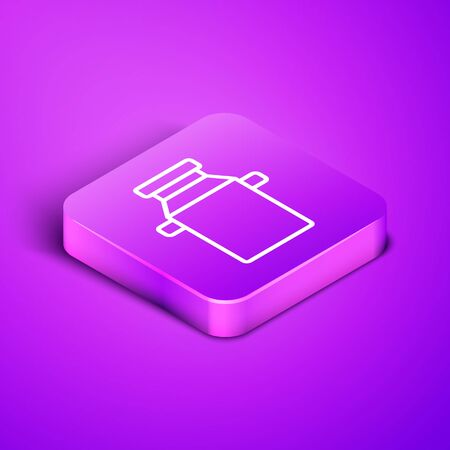 Isometric line Can container for milk icon isolated on purple background. Purple square button. Vector