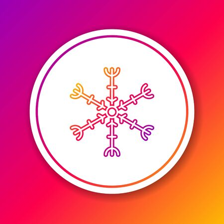 Color line Snowflake icon isolated on color background. Circle white button. Vector Illustration.