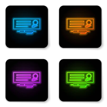 Glowing neon Blank template of the bank check and pen icon isolated on white background. Checkbook cheque page with empty fields to fill. Black square button. Vector Illustration.