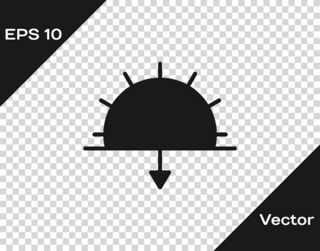 Black Sunset icon isolated on transparent background. Vector Illustration. Vectores