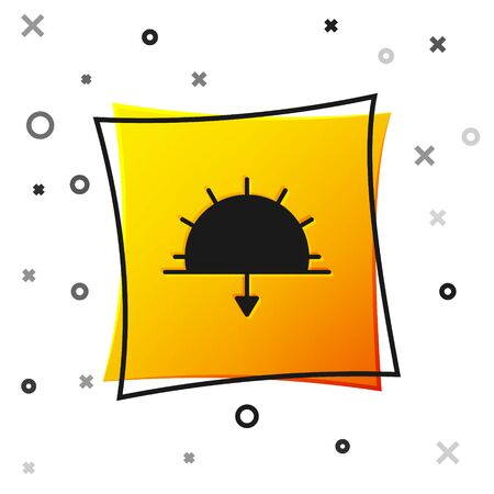 Black Sunset icon isolated on white background. Yellow square button. Vector Illustration. Vectores