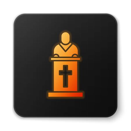 Orange glowing neon Church pastor preaching icon isolated on white background. Black square button. Vector Illustration. Banque d'images - 150187931