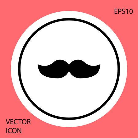 Black Mustache icon isolated on red background. Barbershop symbol. Facial hair style. White circle button. Vector Illustration. Archivio Fotografico - 150187823