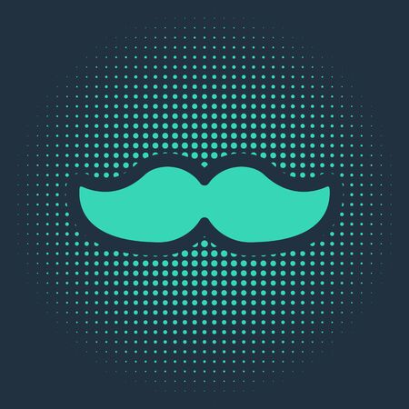 Green Mustache icon isolated on blue background. Barbershop symbol. Facial hair style. Abstract circle random dots. Vector Illustration.