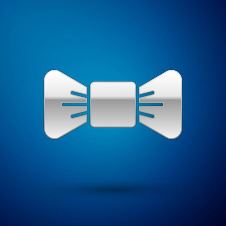 Silver Bow tie icon isolated on blue background.  Vector Illustration.