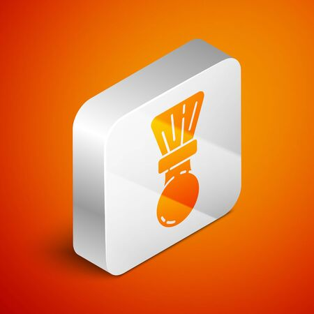 Isometric Shaving brush icon isolated on orange background. Barbershop symbol. Silver square button. Vector Illustration. Vettoriali