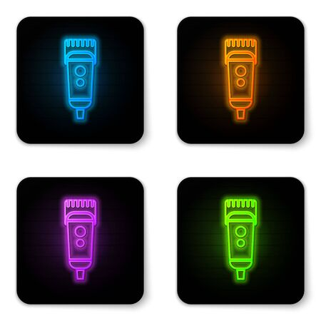 Glowing neon Electrical hair clipper or shaver icon isolated on white background. Barbershop symbol. Black square button. Vector Illustration.