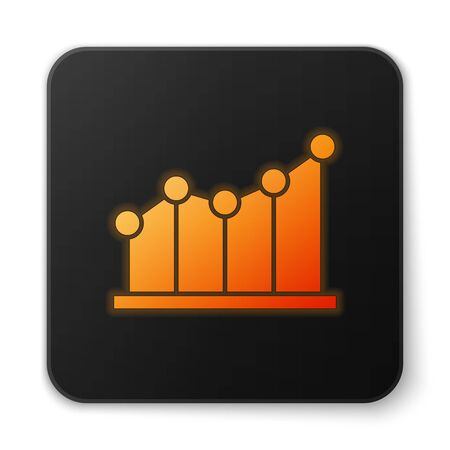 Orange glowing neon Pie chart infographic icon isolated on white background. Diagram chart sign. Black square button. Vector Illustration. Banque d'images - 150188026