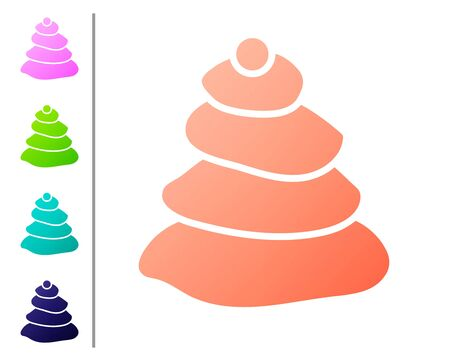 Coral Stack hot stones icon isolated on white background. Spa salon accessory. Set color icons. Vector Illustration.