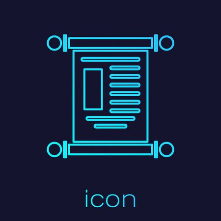 Turquoise line Decree, paper, parchment, scroll icon icon isolated on blue background. Chinese scroll. Vector Illustration. Иллюстрация