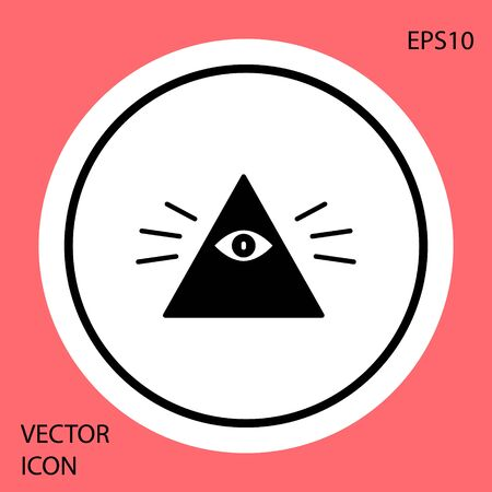 Black Masons symbol All-seeing eye of God icon isolated on red background. The eye of Providence in the triangle. White circle button. Vector Illustration. Illustration