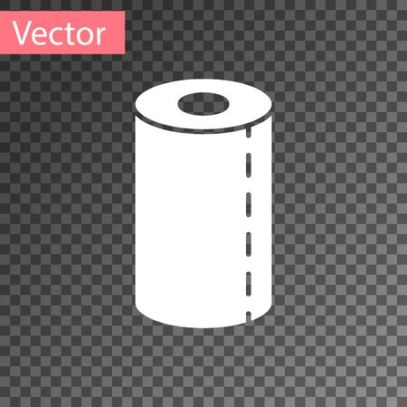 White Paper towel roll icon isolated on transparent background. Vector Illustration.