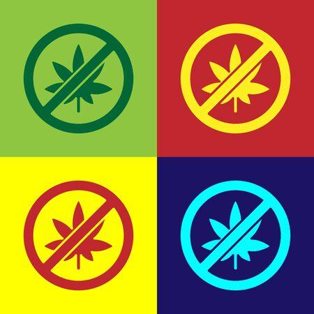 Pop art Stop marijuana or cannabis leaf icon isolated on color background. No smoking marijuana. Hemp symbol. Vector Illustration.