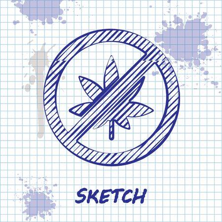Sketch line Stop marijuana or cannabis leaf icon isolated on white background. No smoking marijuana. Hemp symbol. Vector Illustration. Illustration