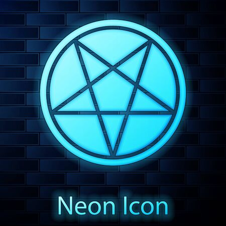 Glowing neon Pentagram in a circle icon isolated on brick wall background. Magic occult star symbol. Vector Illustration.