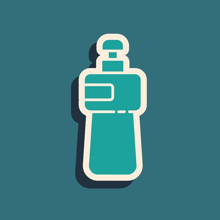 Green Dishwashing liquid bottle icon isolated on green background. Liquid detergent for washing dishes. Long shadow style. Vector Illustration.