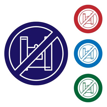 Blue Say no to plastic bags poster icon isolated on white background. Disposable cellophane and polythene package prohibition sign. Set icons in color square buttons. Vector Illustration.