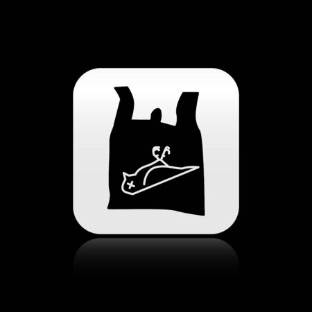 Black Dead bird, plastic icon isolated on black background. Element of pollution problems sign. Silver square button. Vector Illustration.