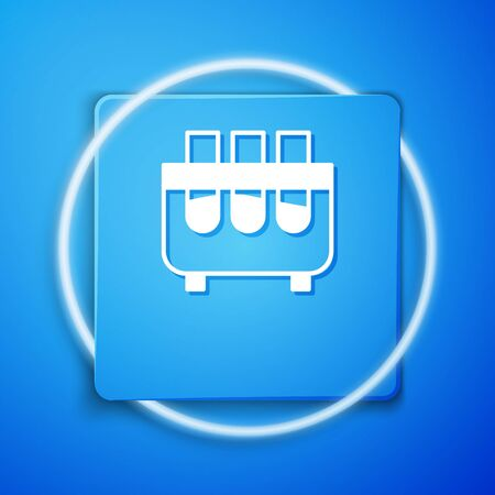 White Test tube and flask chemical laboratory test icon isolated on blue background. Laboratory glassware sign. Blue square button. Vector Illustration. Banco de Imagens - 150190125