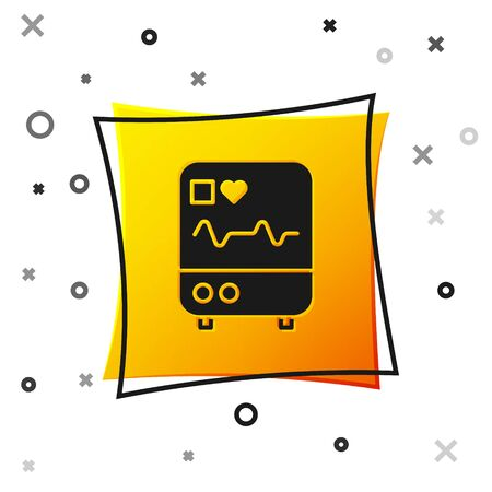 Black Computer monitor with cardiogram icon isolated on white background. Monitoring icon. ECG monitor with heart beat hand drawn. Yellow square button. Vector Illustration. Ilustracja
