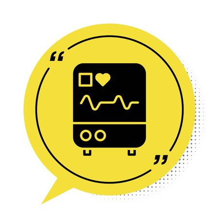 Black Computer monitor with cardiogram icon isolated on white background. Monitoring icon. ECG monitor with heart beat hand drawn. Yellow speech bubble symbol. Vector Illustration.