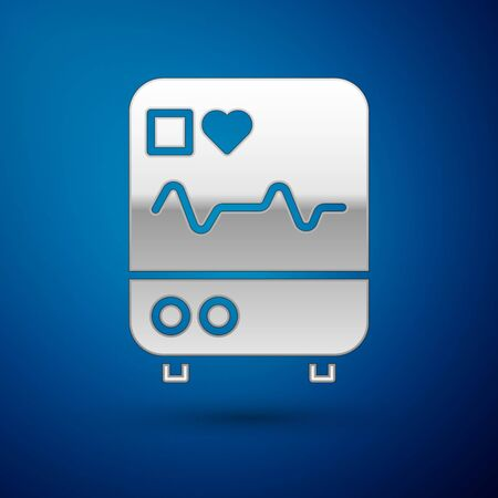 Silver Computer monitor with cardiogram icon isolated on blue background. Monitoring icon. ECG monitor with heart beat hand drawn. Vector Illustration. Ilustracja