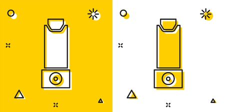 Black Inhaler icon isolated on yellow and white background. Breather for cough relief, inhalation, allergic patient. Random dynamic shapes. Vector Illustration.