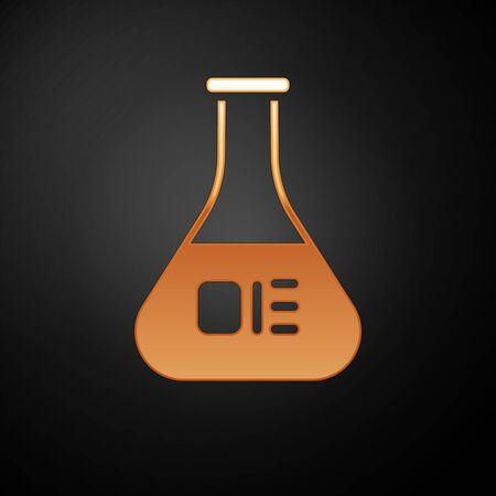 Gold Test tube and flask chemical laboratory test icon isolated on black background. Laboratory glassware sign. Vector Illustration. Ilustração