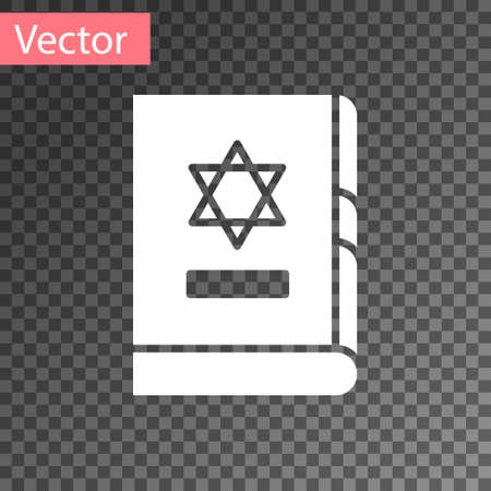 White Jewish torah book icon isolated on transparent background. On the cover of the Bible is the image of the Star of David. Vector Illustration.