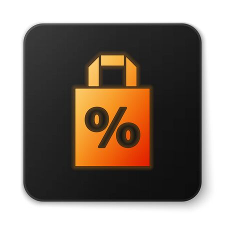Orange glowing neon Shoping bag with an inscription percent discount icon isolated on white background. Handbag sign. Black square button. Vector Illustration. Banque d'images - 150194584
