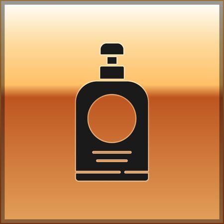 Black Hand sanitizer bottle icon isolated on gold background. Disinfection concept. Washing gel. Alcohol bottle for hygiene. Vector Illustration. Illustration