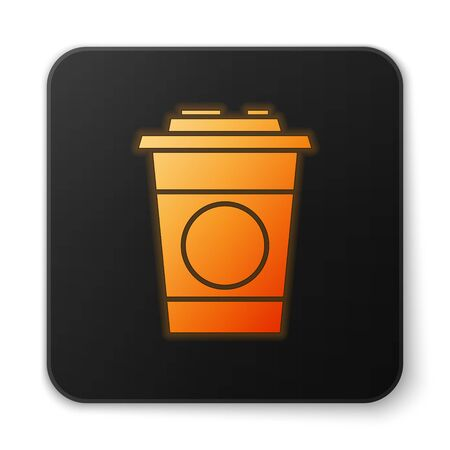 Orange glowing neon Paper glass icon isolated on white background. Soda drink glass. Fresh cold beverage symbol. Black square button. Vector Illustration. Banque d'images - 150194640