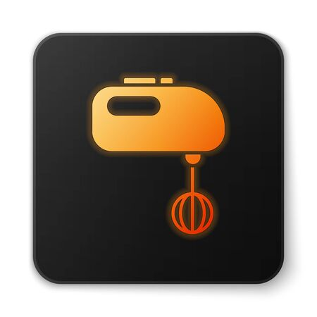Orange glowing neon Electric mixer icon isolated on white background. Kitchen blender. Black square button. Vector Illustration. Banque d'images - 150194755