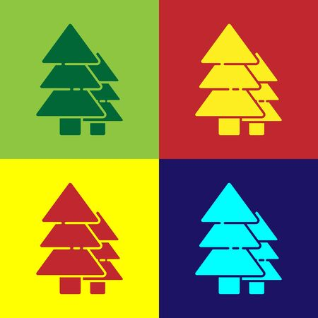 Pop art Tree icon isolated on color background. Forest symbol. Vector Illustration.