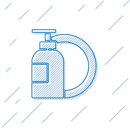 Blue line Dishwashing liquid bottle and plate icon isolated on white background. Liquid detergent for washing dishes. Vector Illustration.