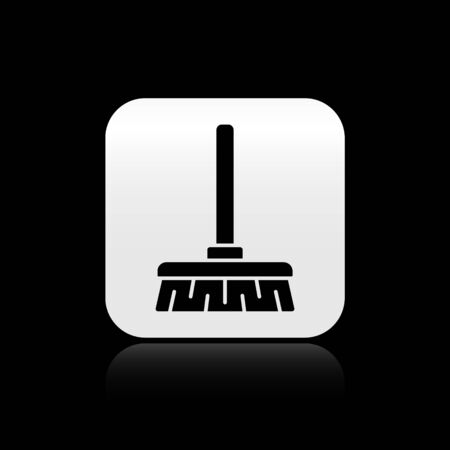 Black Handle broom icon isolated on black background. Cleaning service concept. Silver square button. Vector Illustration.