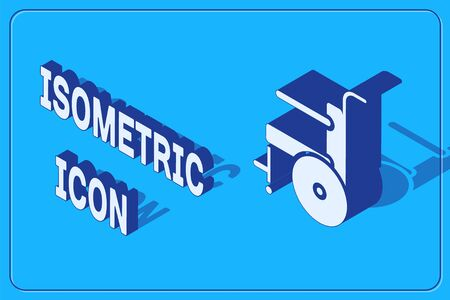 Isometric Wheelchair for disabled person icon isolated on blue background. Vector Illustration.