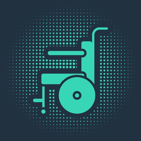 Green Wheelchair for disabled person icon isolated on blue background. Abstract circle random dots. Vector Illustration. Stock Illustratie