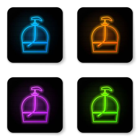 Glowing neon Bottle of liquid antibacterial soap with dispenser icon isolated on white background. Disinfection, hygiene, skin care. Black square button. Vector Illustration. Illustration